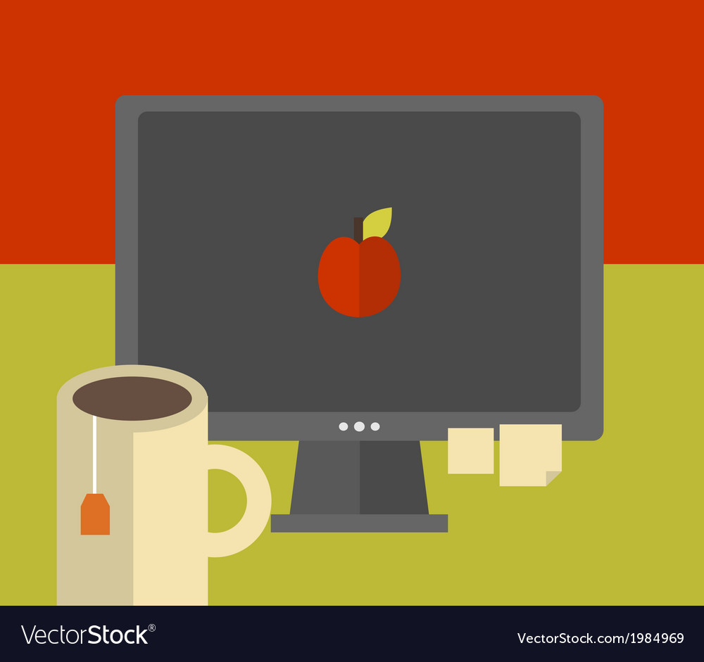 Computer screen on the table vector | Price: 1 Credit (USD $1)