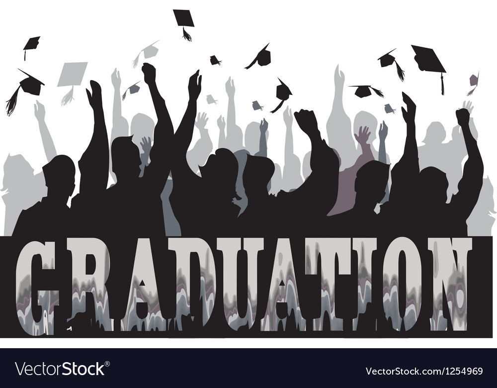Graduation celebration in silhouette vector | Price: 1 Credit (USD $1)