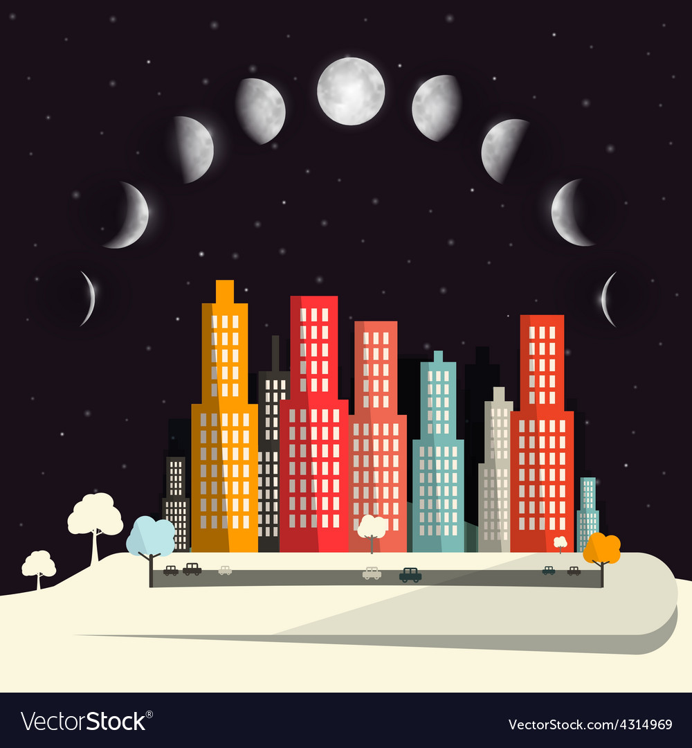 Moon phases above night city flat design abstract vector | Price: 1 Credit (USD $1)