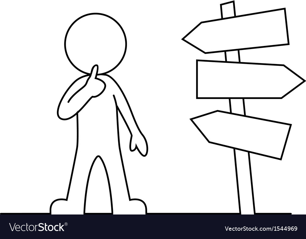 People is standing in front of a road sign thinkin vector | Price: 1 Credit (USD $1)