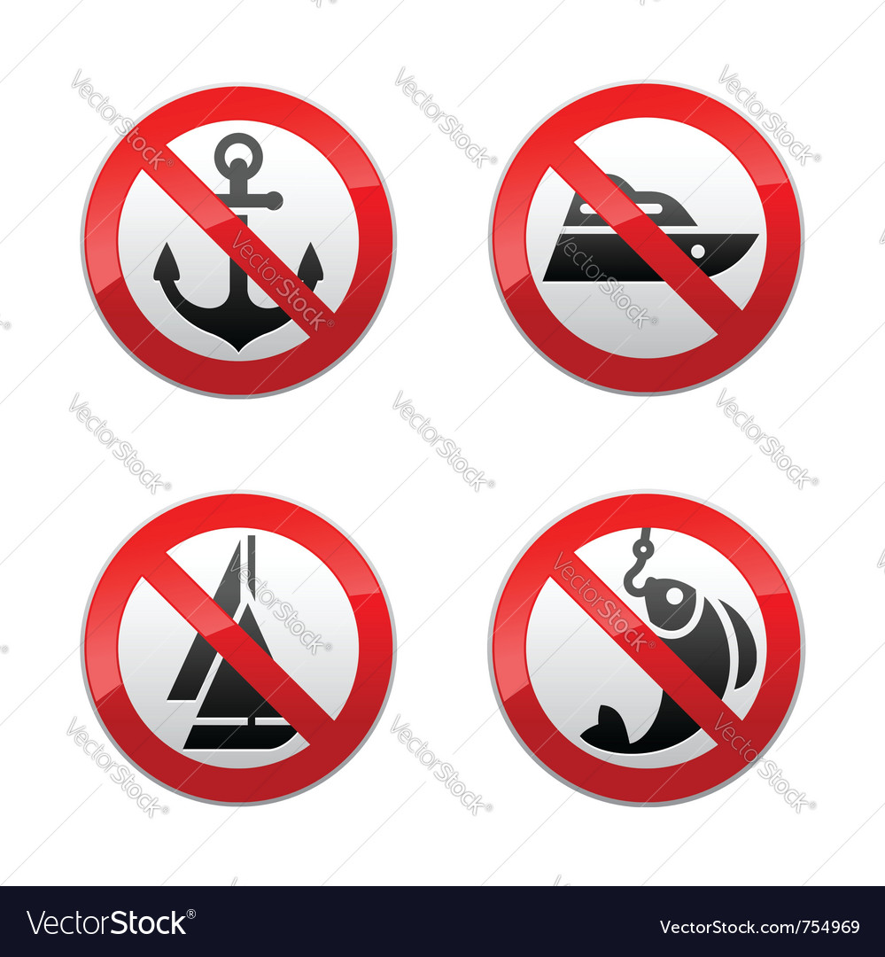 Set prohibited signs - fishing vector | Price: 1 Credit (USD $1)