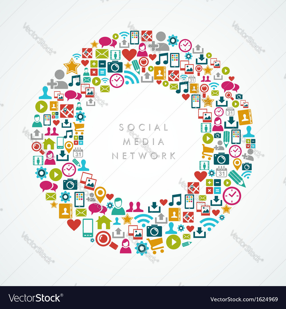 Social media network icons circle composition vector | Price: 1 Credit (USD $1)