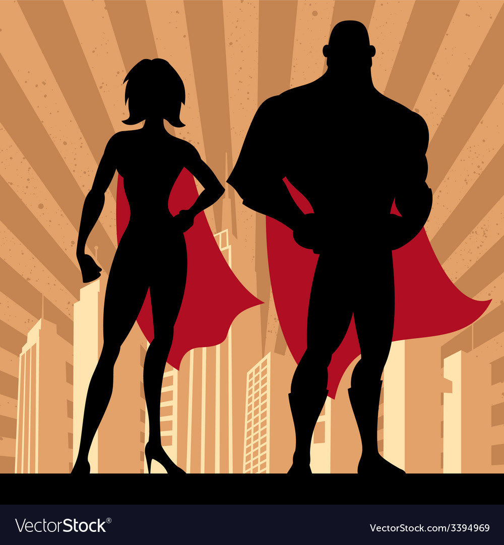 Superhero couple 4 vector | Price: 1 Credit (USD $1)