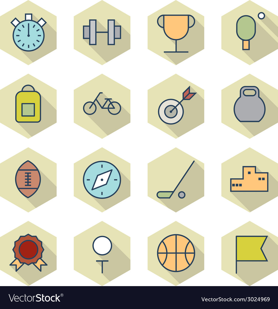 Thin line icons for sport vector | Price: 1 Credit (USD $1)
