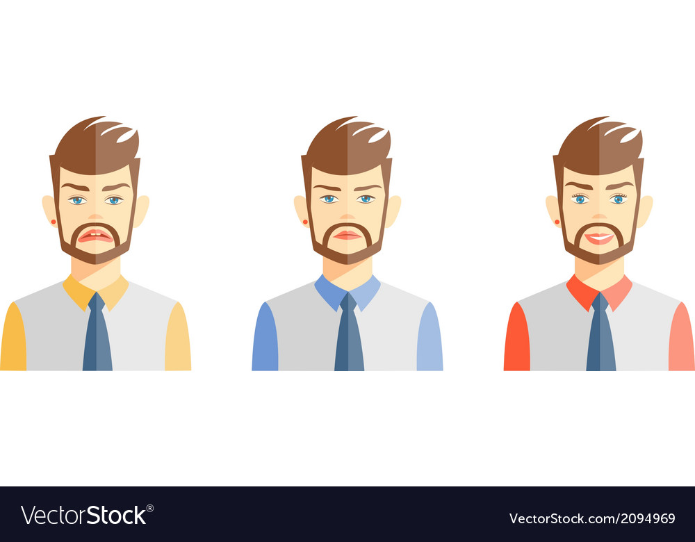 Young man expressing different emotions vector | Price: 1 Credit (USD $1)