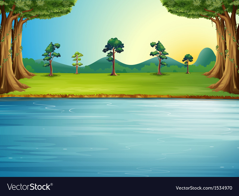 A forest with a river vector   Price: 1 Credit (USD $1)