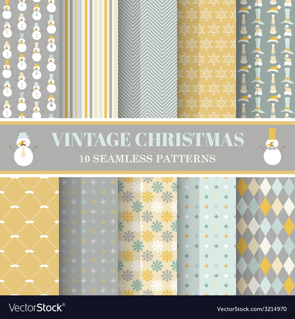 Christmas retro set - 10 seamless patterns vector | Price: 1 Credit (USD $1)