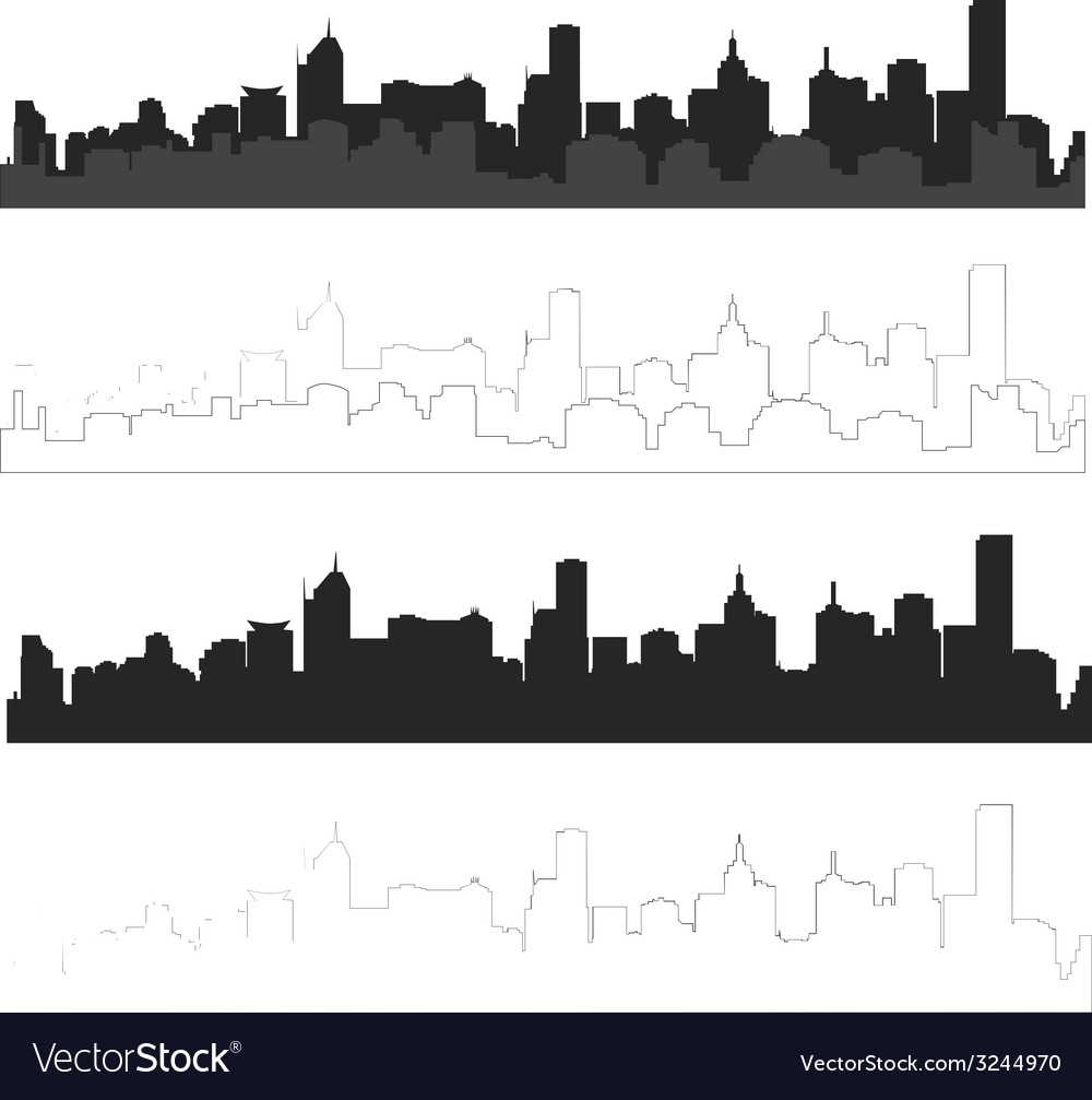 City silhouette in black and with interpretation 1 vector | Price: 1 Credit (USD $1)