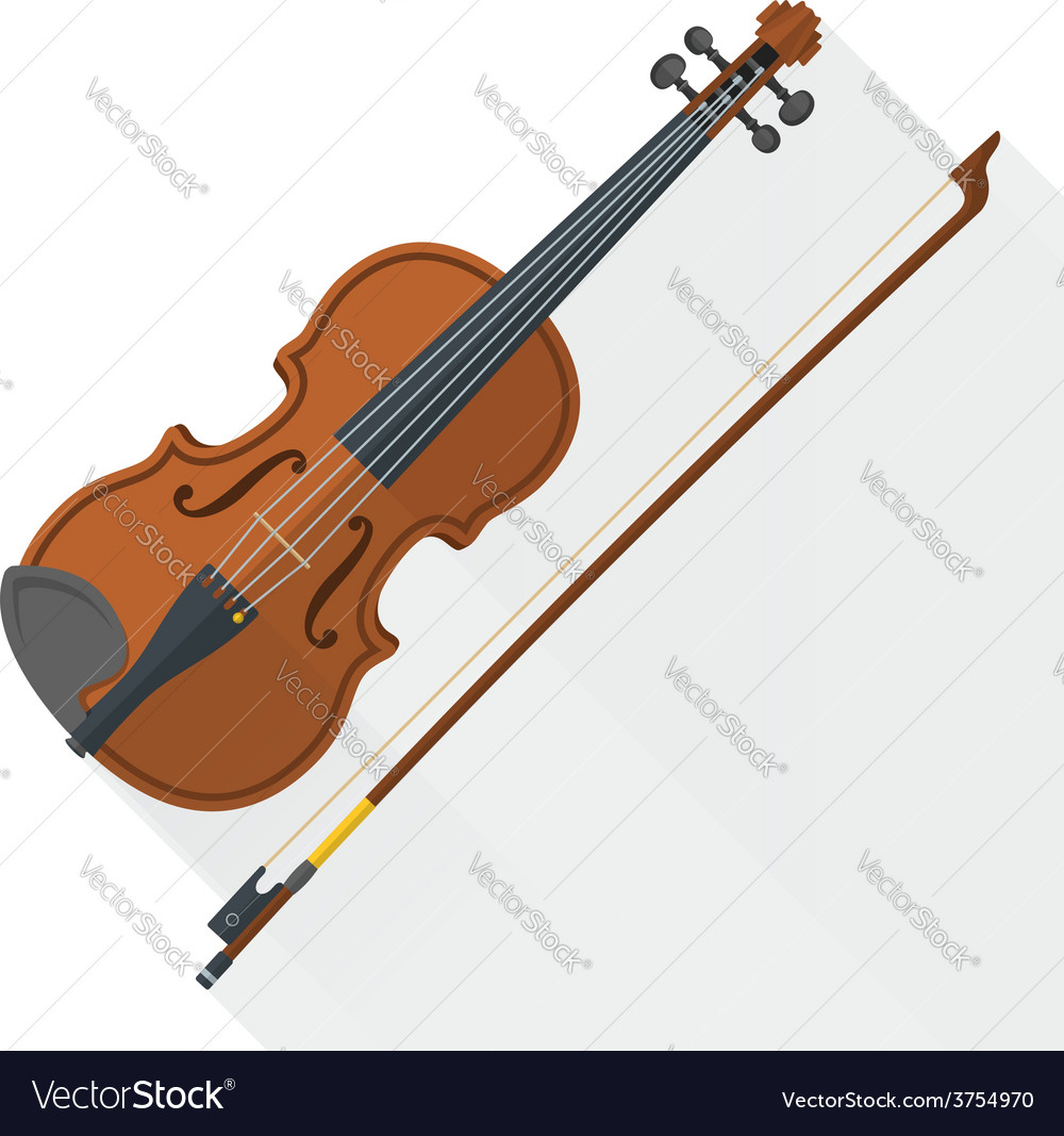 Color flat style fiddle violin vector | Price: 1 Credit (USD $1)