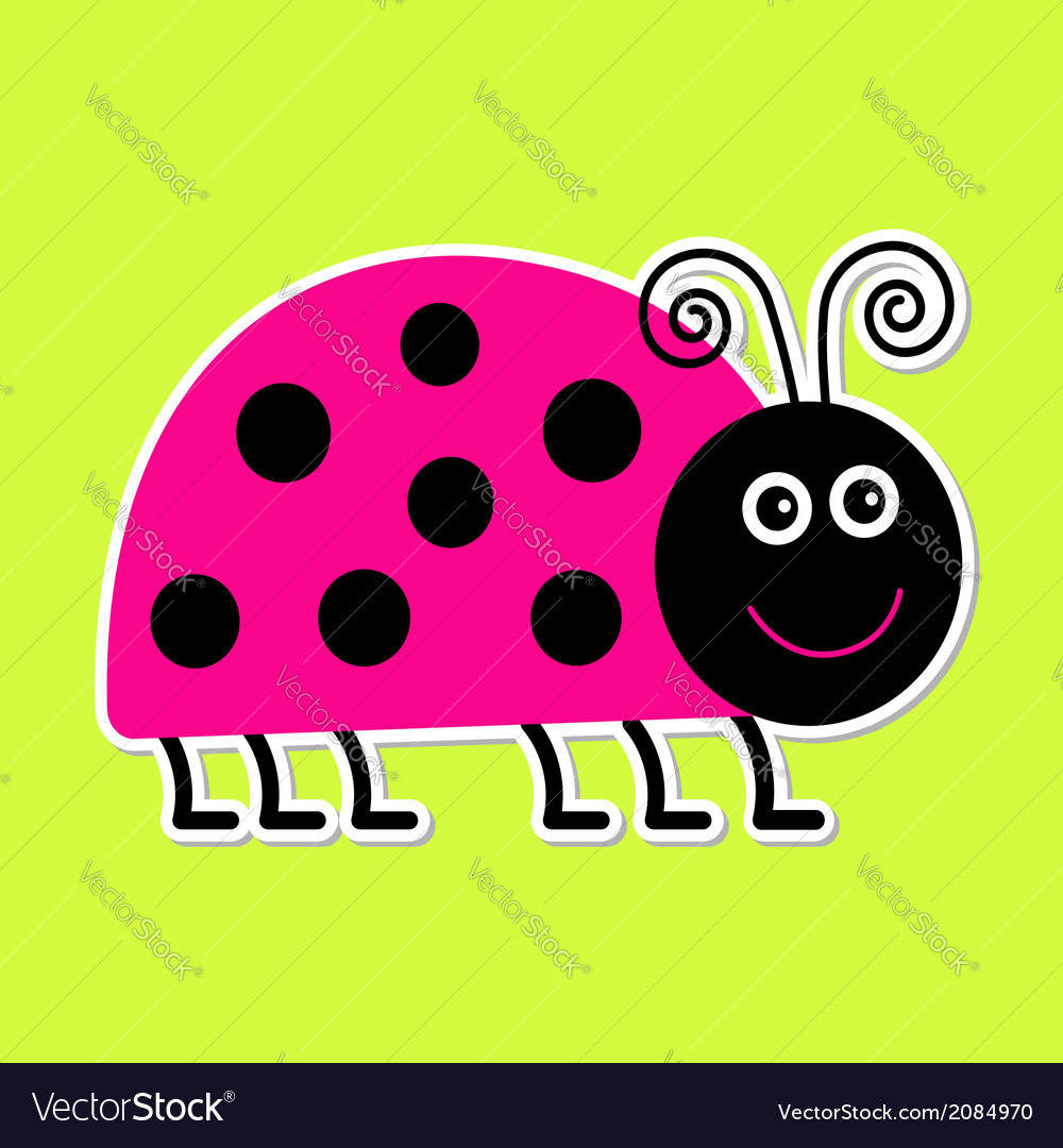 Cute cartoon pink lady bug isolated vector | Price: 1 Credit (USD $1)