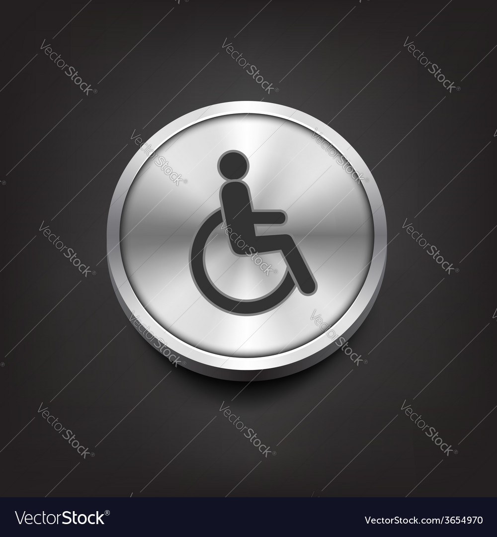 Disabled icon on silver button vector | Price: 1 Credit (USD $1)