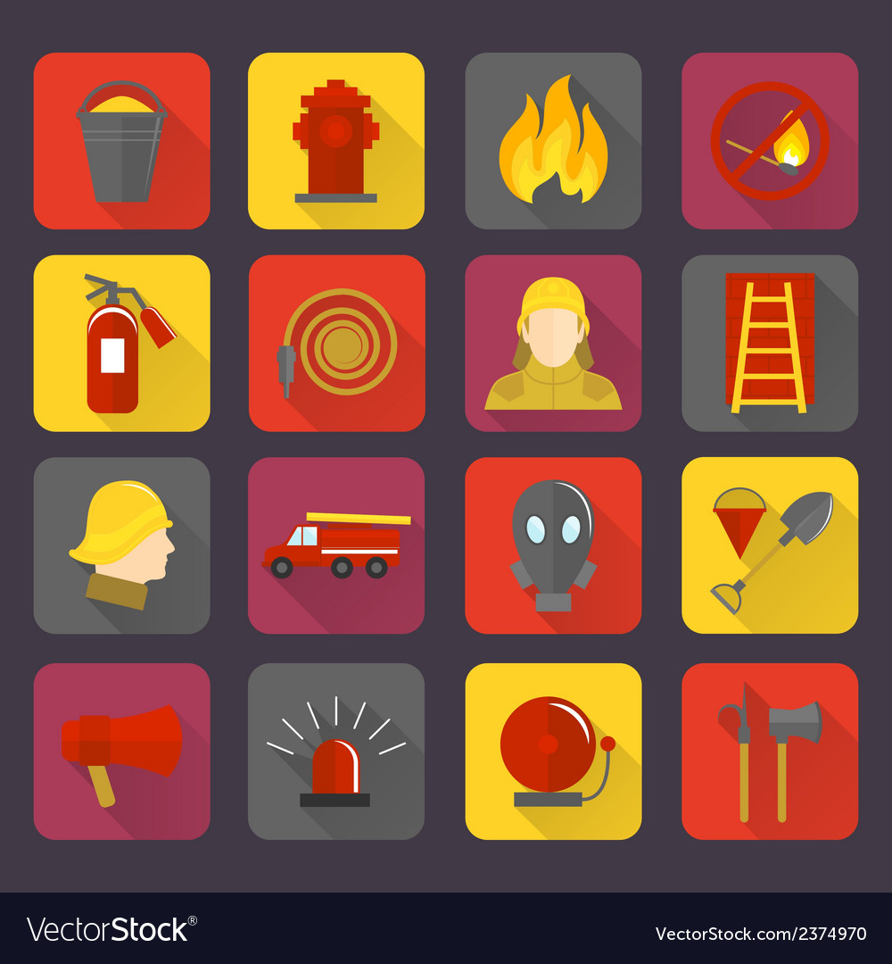 Firefighting icons set vector | Price: 1 Credit (USD $1)