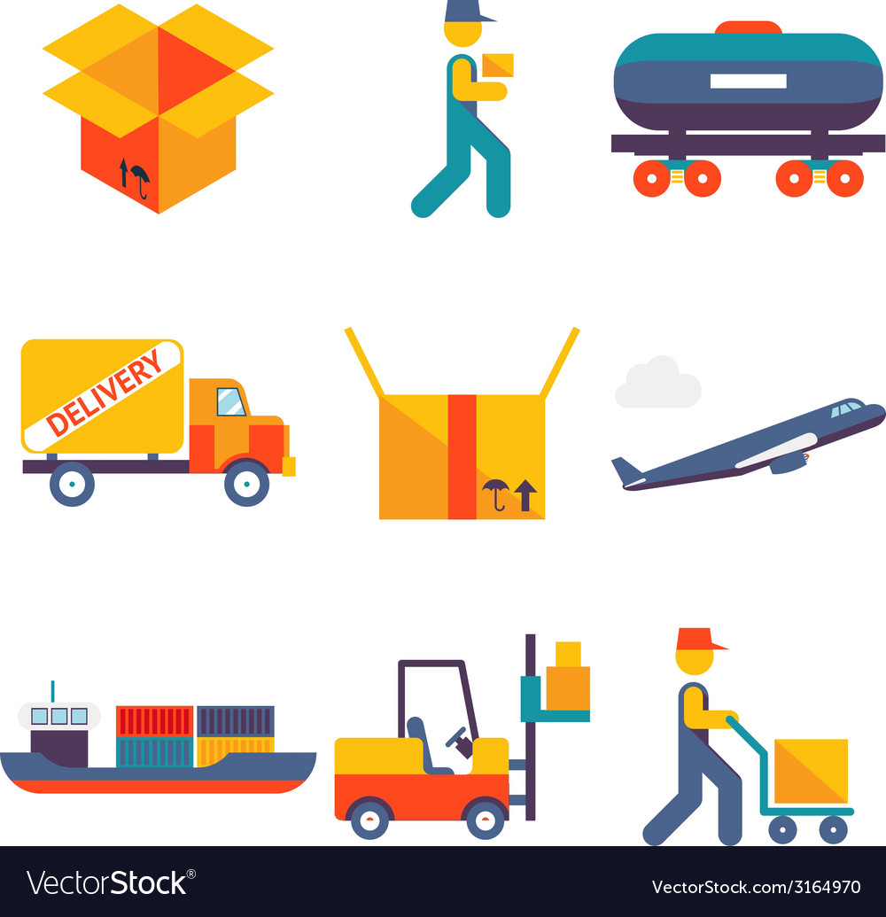 Flat delivery icons set modern trendy isolated vector | Price: 1 Credit (USD $1)