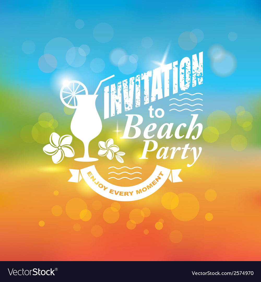 Invitation to beach party vector | Price: 1 Credit (USD $1)