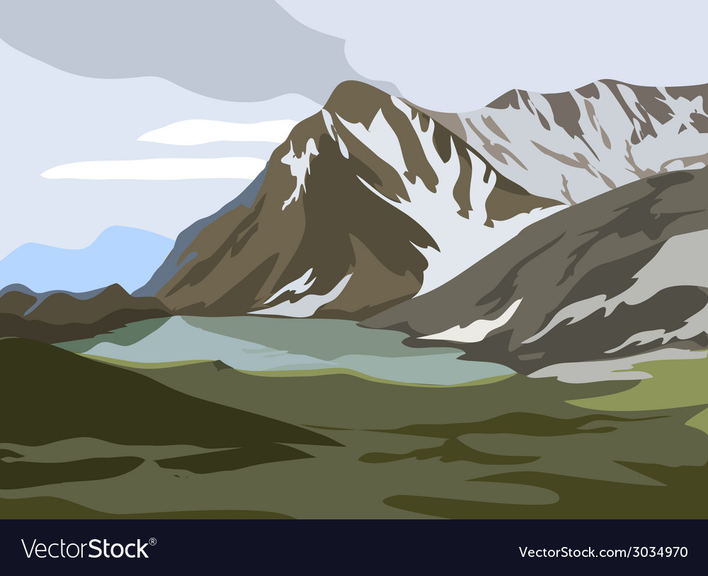 Mountains landscape vector | Price: 3 Credit (USD $3)