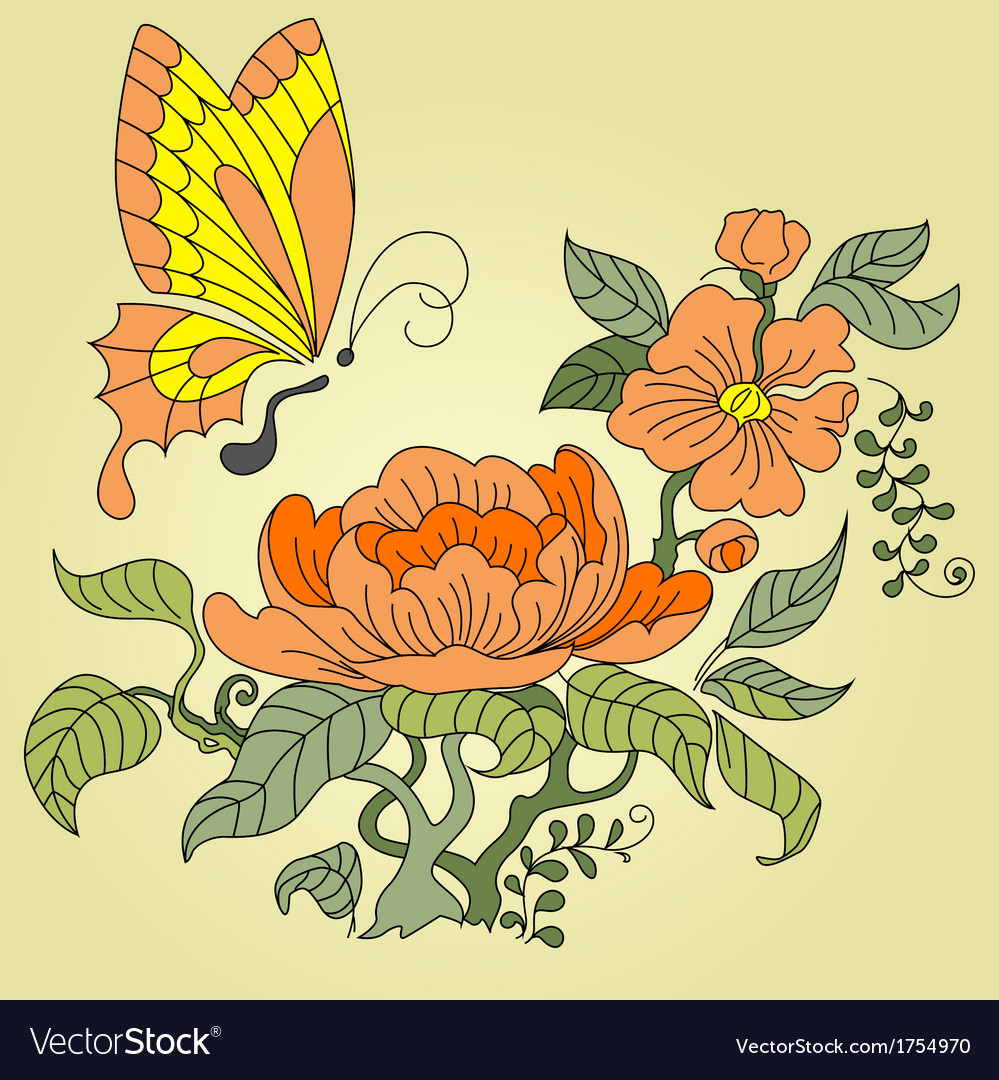 Peony and butterfly color vector | Price: 1 Credit (USD $1)