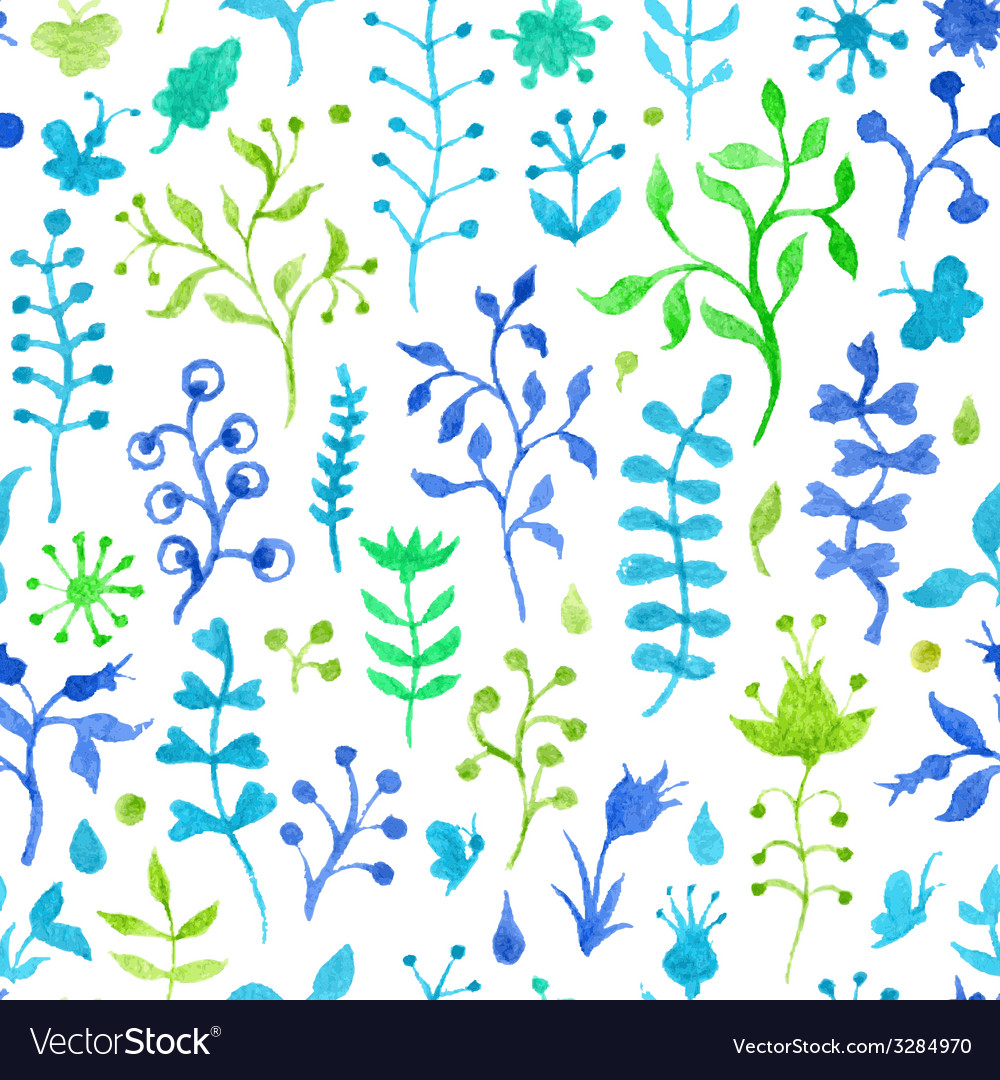 Seamless watercolor nature pattern vector | Price: 1 Credit (USD $1)