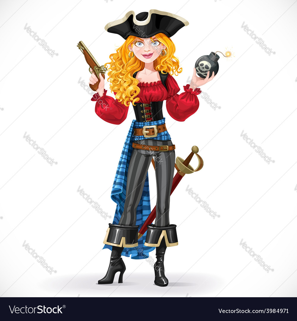 Brave red-haired pirate girl holding a bomb with vector | Price: 3 Credit (USD $3)