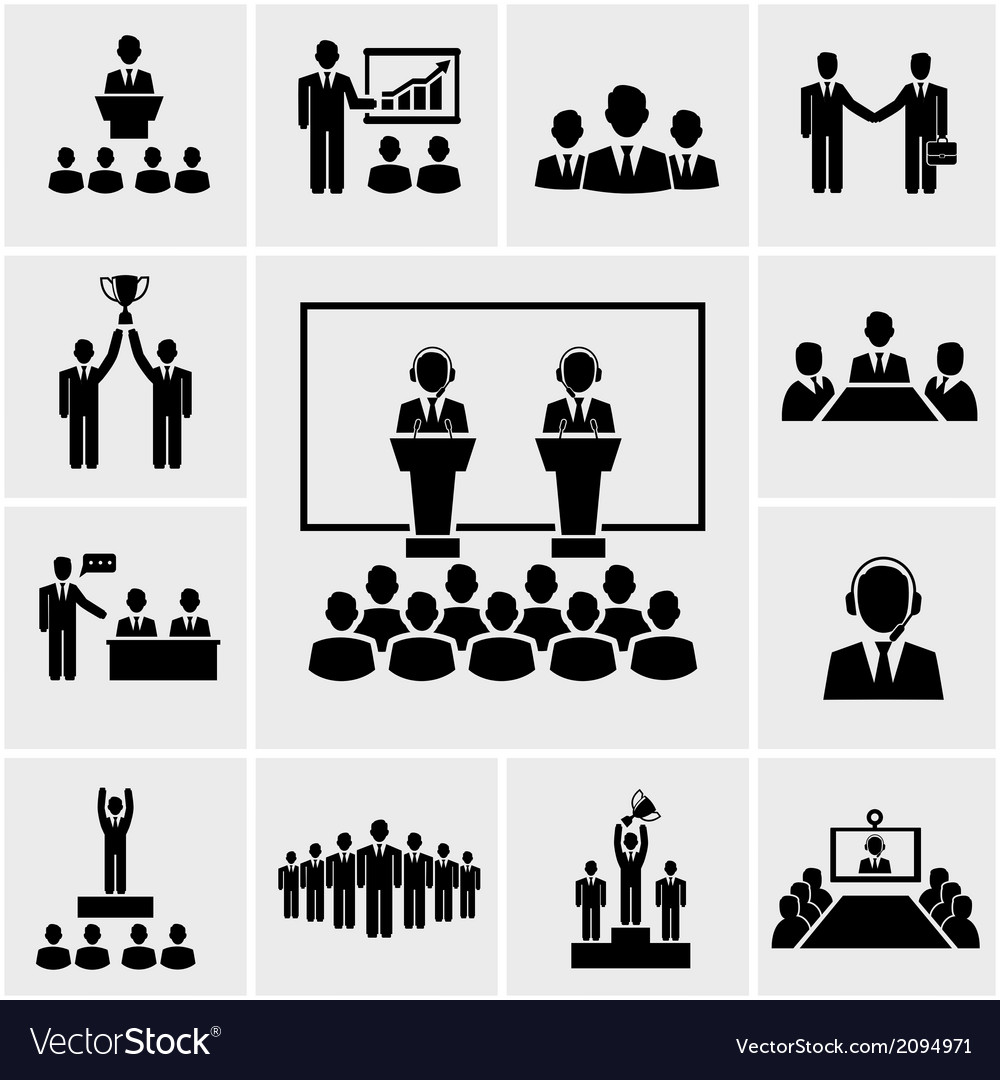 Business conference and presentation icons vector | Price: 1 Credit (USD $1)