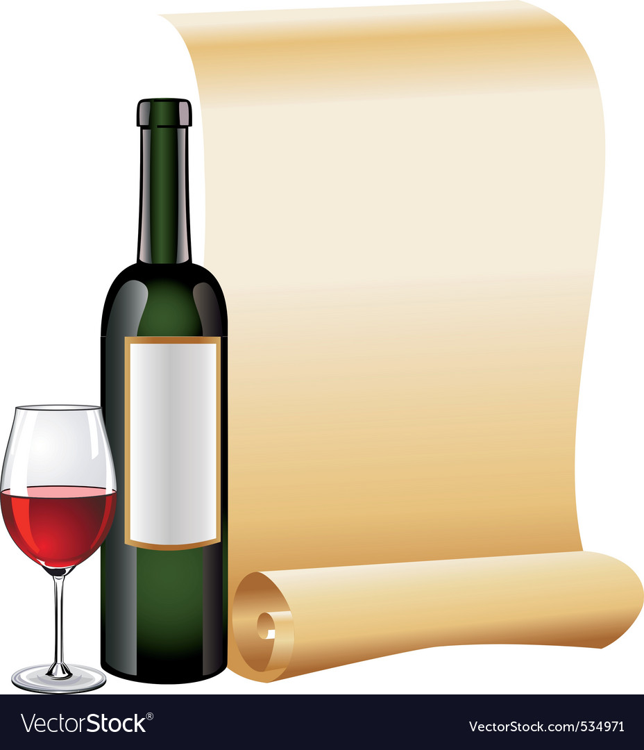 Glass of red wine with bottle vector | Price: 3 Credit (USD $3)