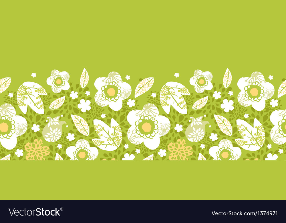 Green kimono florals horizontal seamless pattern vector | Price: 1 Credit (USD $1)