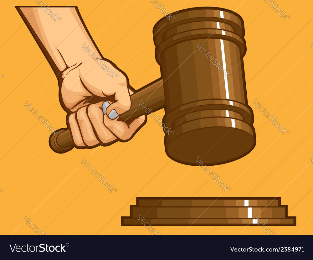 Hand knocking gavel vector | Price: 1 Credit (USD $1)