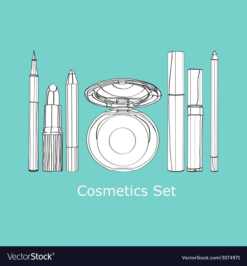 Set of decorative cosmetics vector | Price: 1 Credit (USD $1)