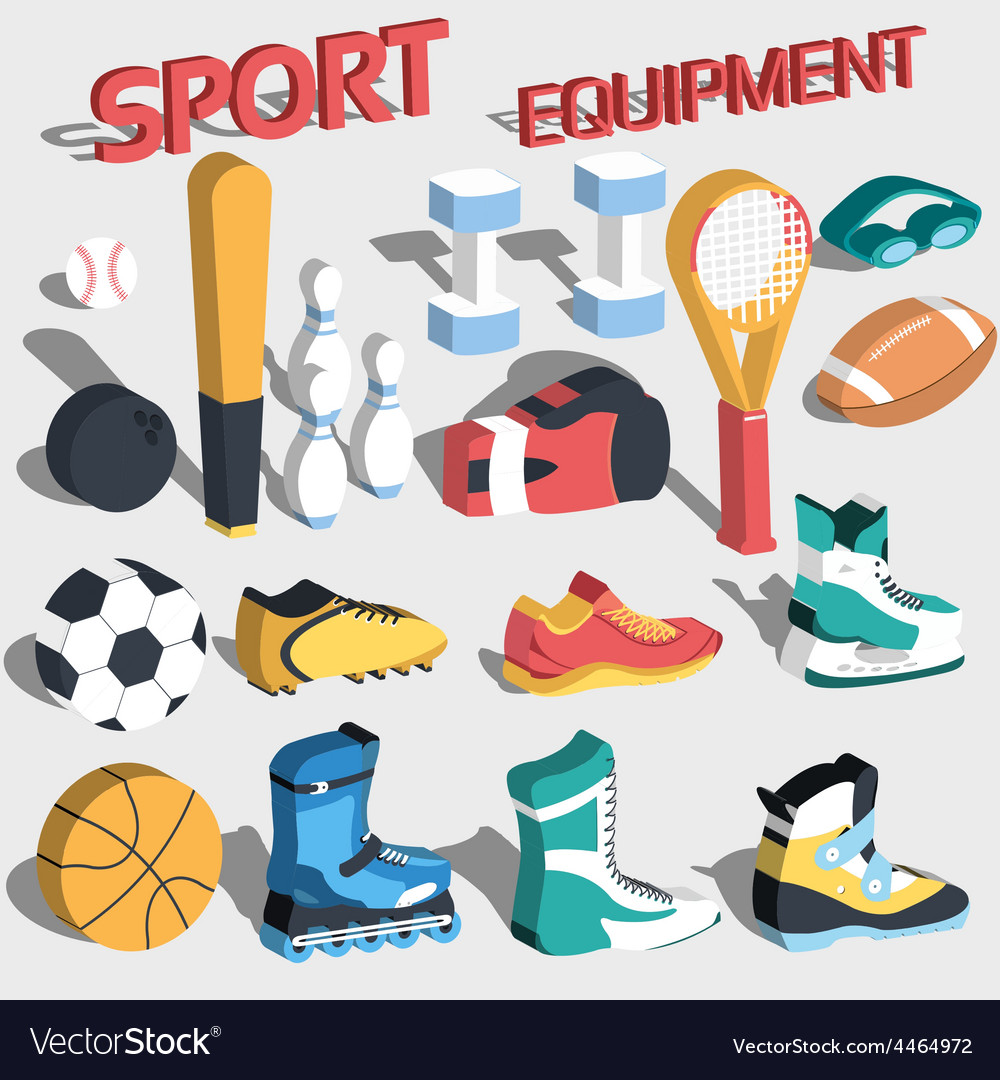 3d perspective flat sport equipment vector | Price: 1 Credit (USD $1)