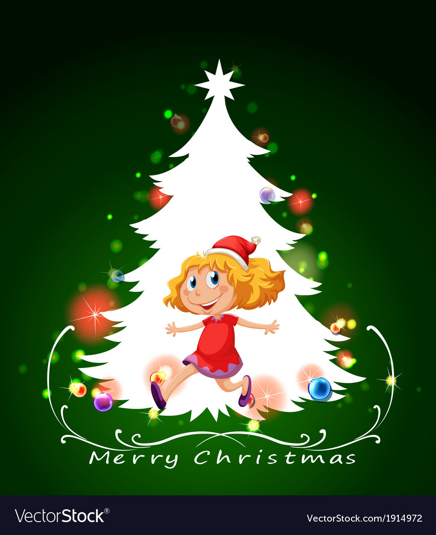 A christmas card template with a happy young girl vector   Price: 3 Credit (USD $3)