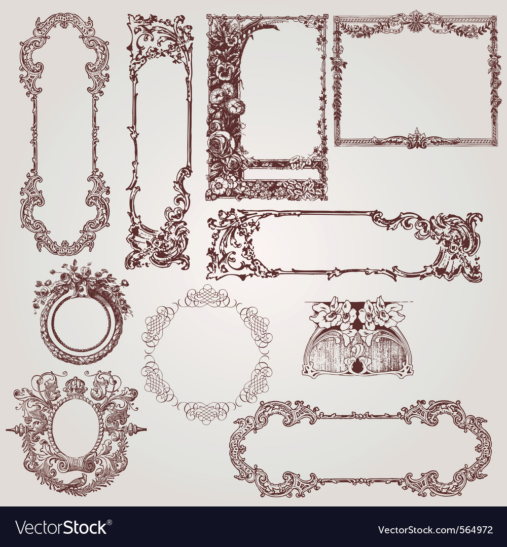 Antique victorian baroque frames vector | Price: 1 Credit (USD $1)