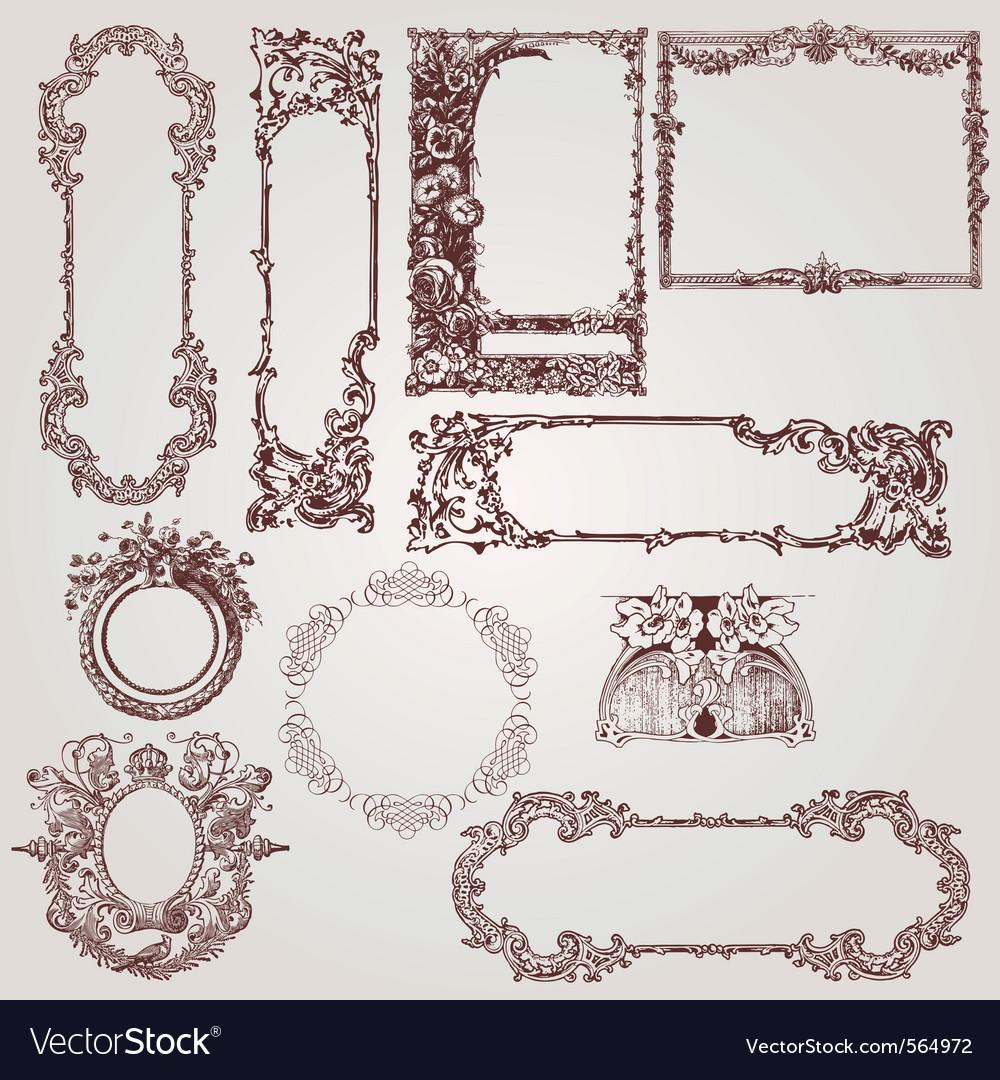 Antique victorian baroque frames vector | Price: 1 Credit (USD $1)
