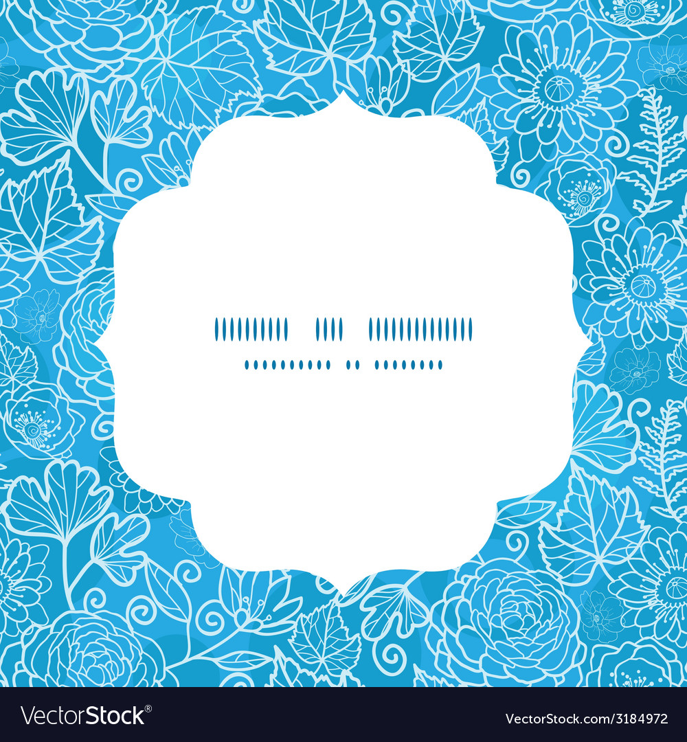 Blue field floral texture circle frame seamless vector | Price: 1 Credit (USD $1)