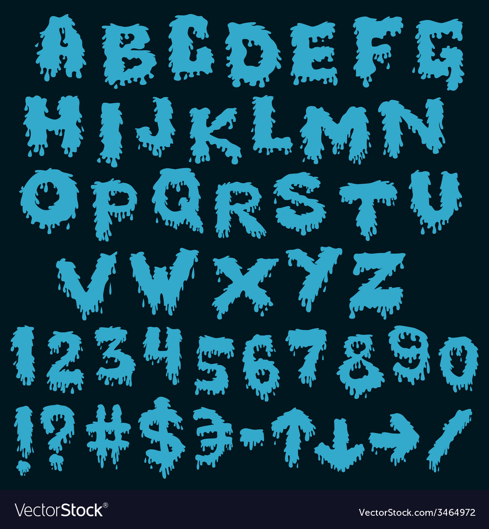 Blue font smudges alphabet splashing vector | Price: 1 Credit (USD $1)