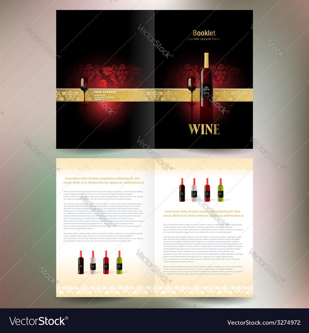 Brochure folder wine red vine grape ornament vector | Price: 1 Credit (USD $1)