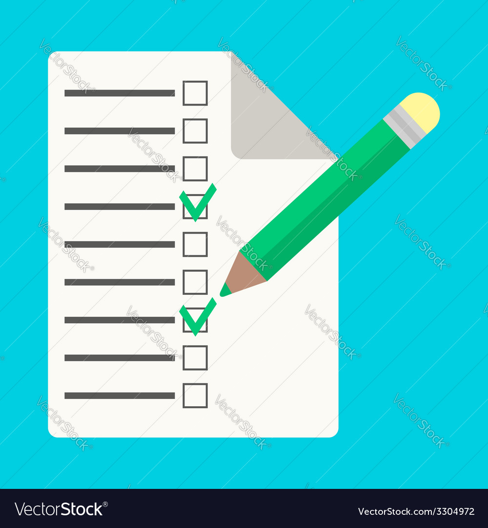 Checklist with pencil in flat style vector | Price: 1 Credit (USD $1)
