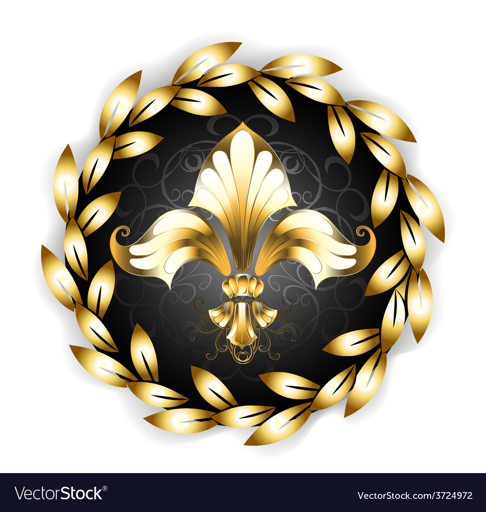 Gold fleur de lis with laurel wreath vector | Price: 1 Credit (USD $1)