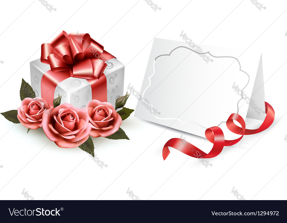 Greeting card with a ribbon a present and three vector | Price: 1 Credit (USD $1)