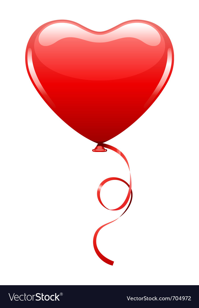 Heart as air balloon with ribbon vector | Price: 1 Credit (USD $1)