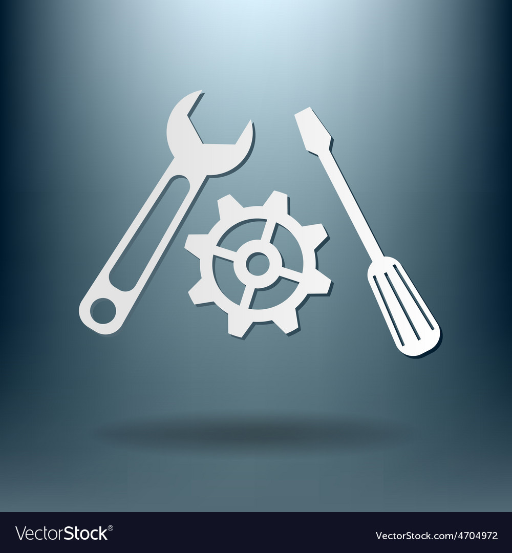 Screwdriver cogwheel and wrench icon setting and vector | Price: 1 Credit (USD $1)