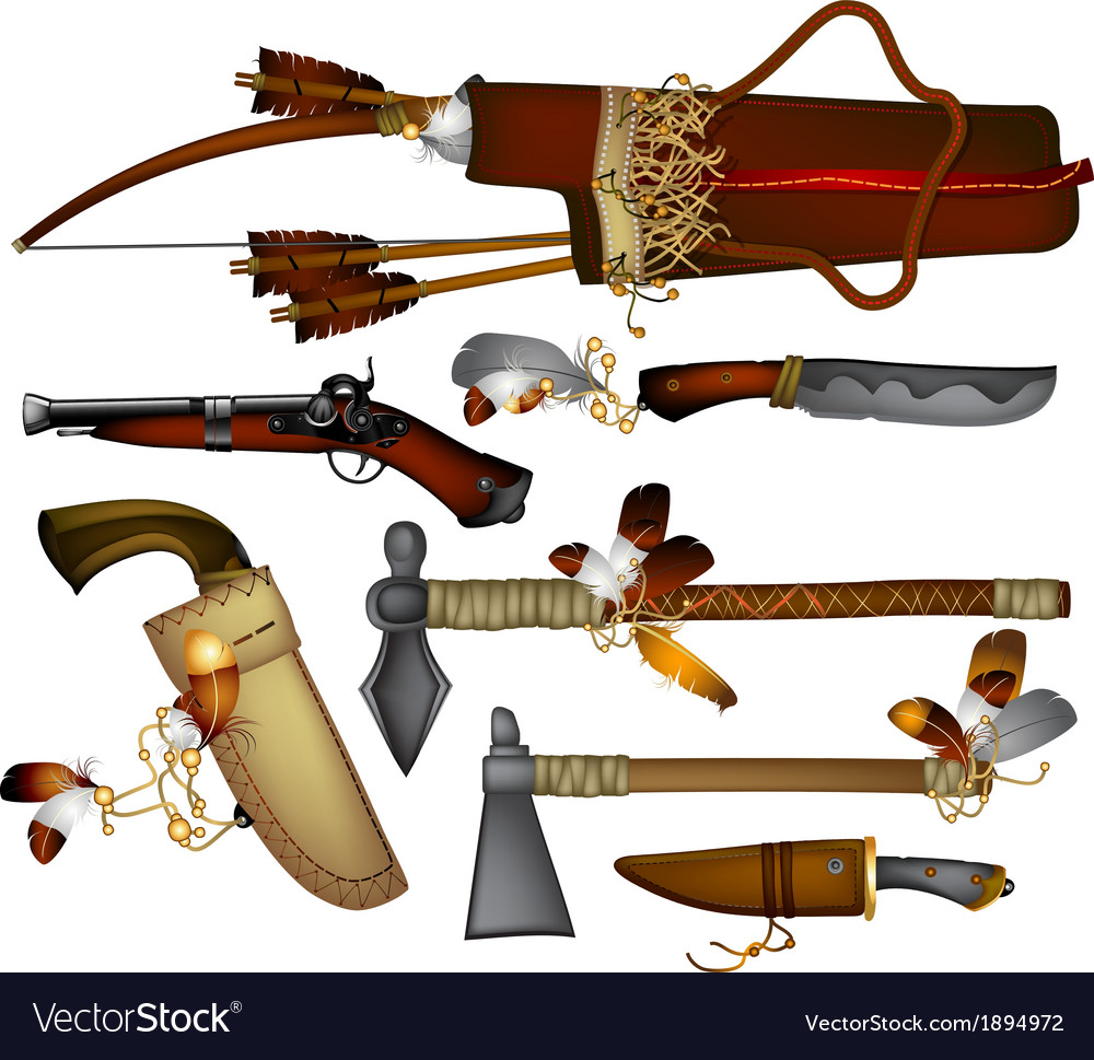 Set of weapons american indian vector | Price: 3 Credit (USD $3)