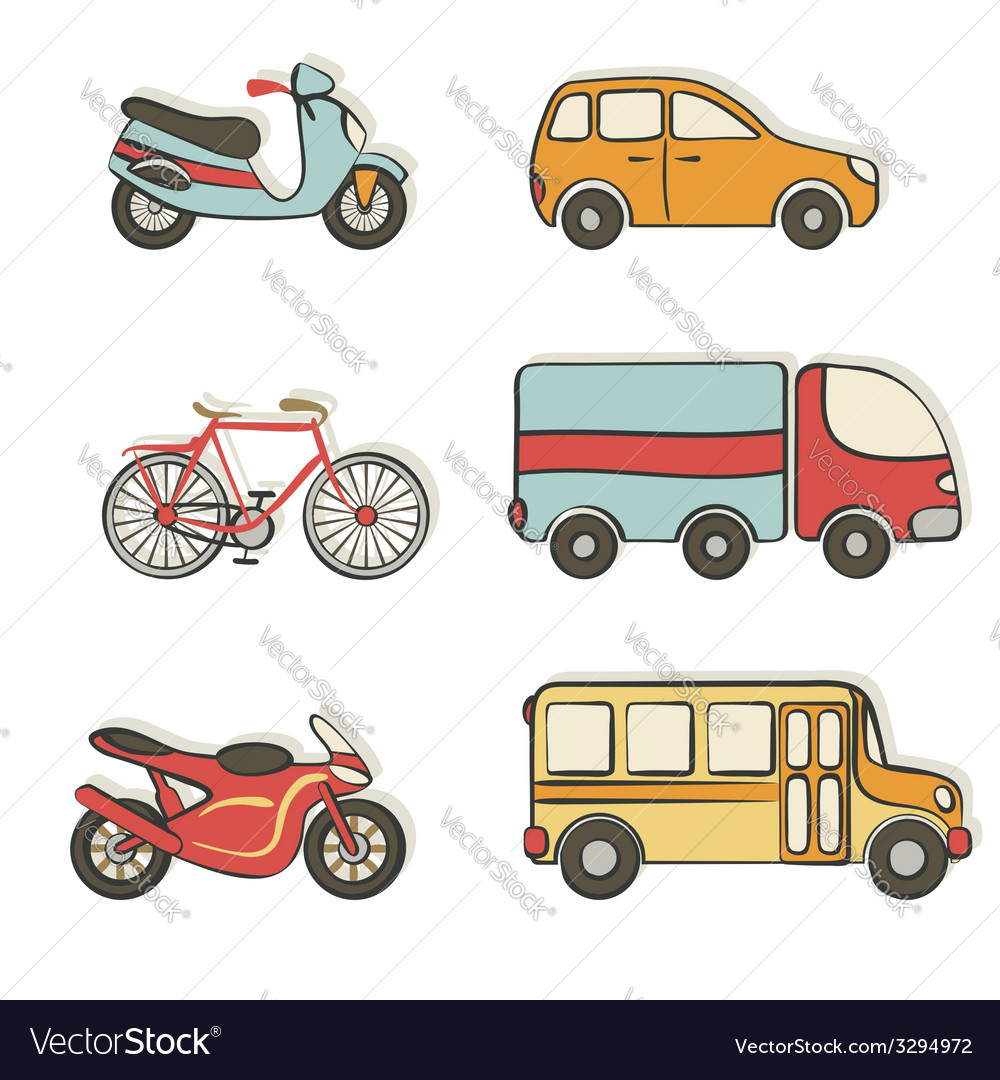 Transportation hand drawing icons vector | Price: 1 Credit (USD $1)