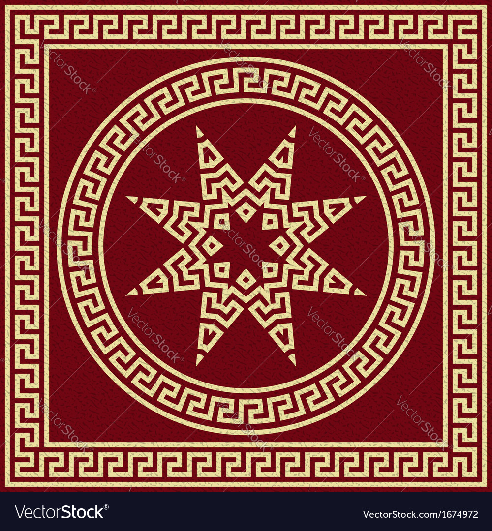 Vintage golden greek ornament meander vector