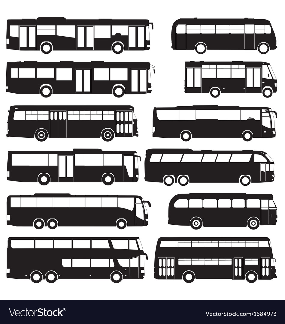 Bus and coach silhouettes vector | Price: 1 Credit (USD $1)