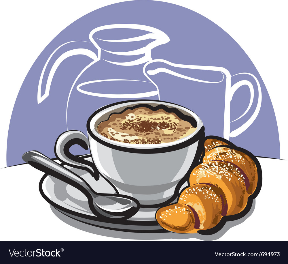 Cappuccino with croissant vector | Price: 3 Credit (USD $3)