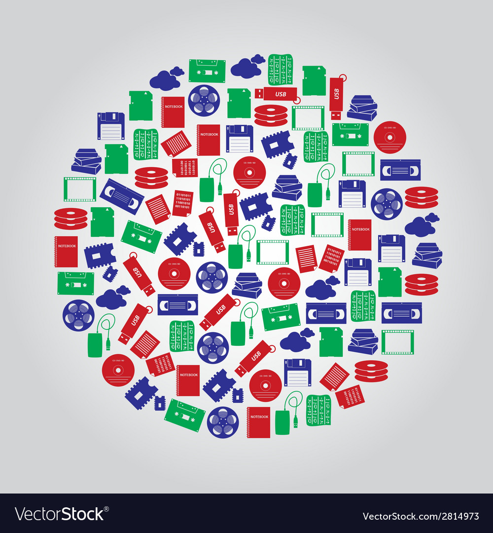 Data storage media icons in color circle eps10 vector | Price: 1 Credit (USD $1)
