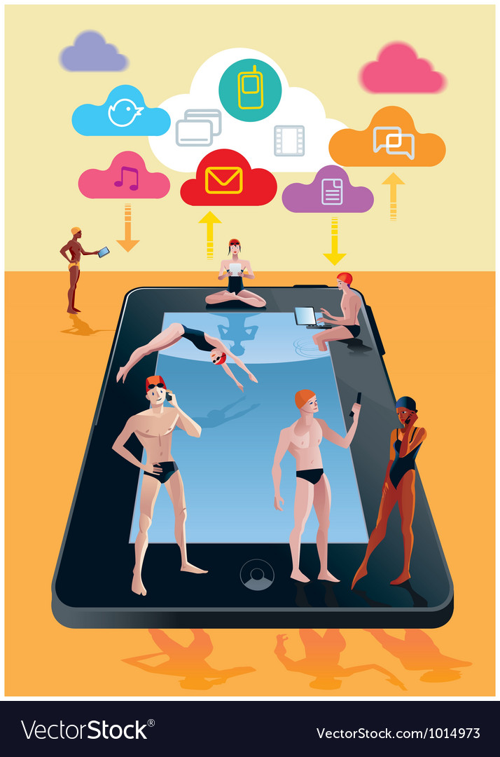 Digital tablet as swimming pool orange vector | Price: 3 Credit (USD $3)