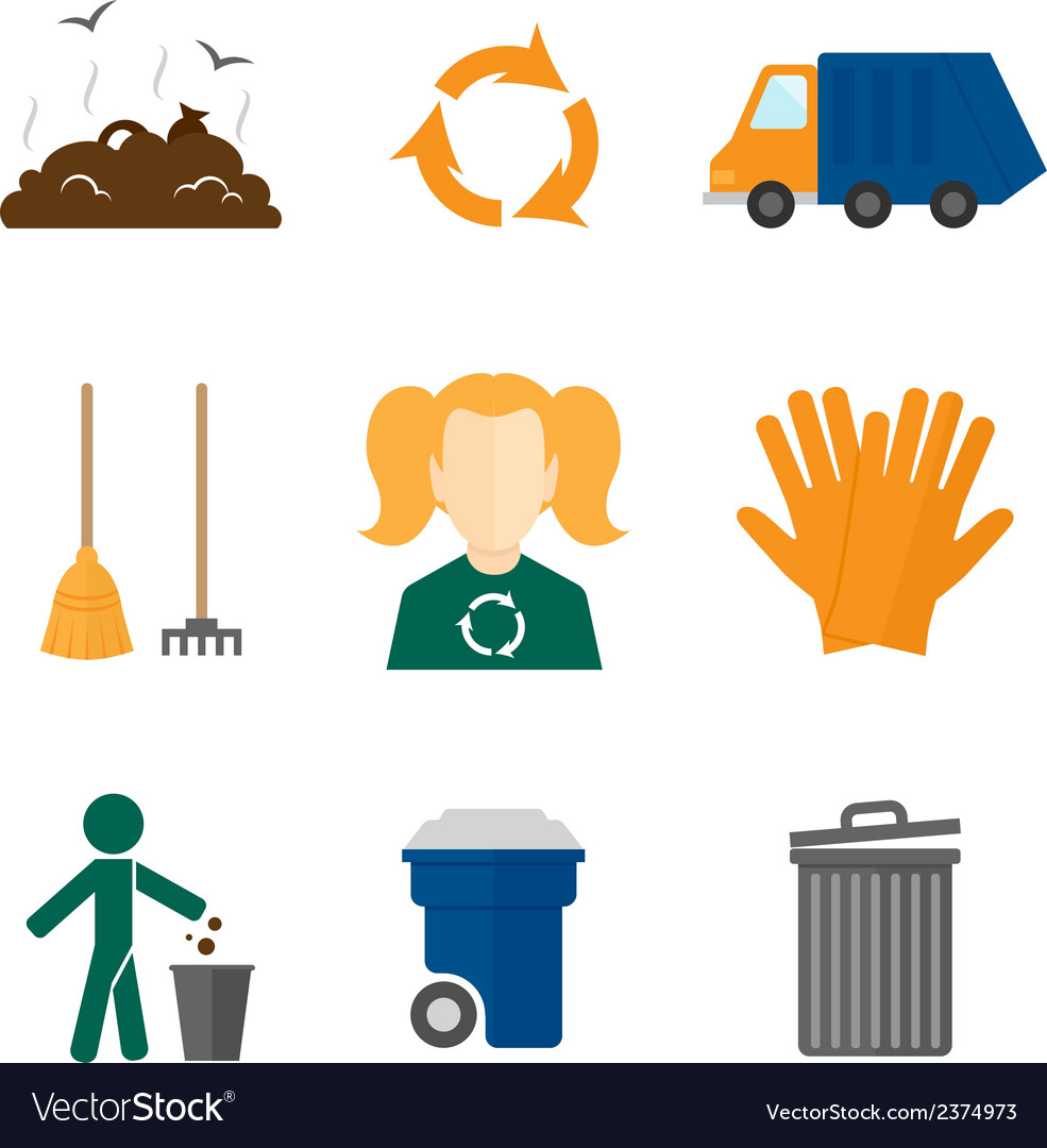 Garbage icons flat vector | Price: 1 Credit (USD $1)