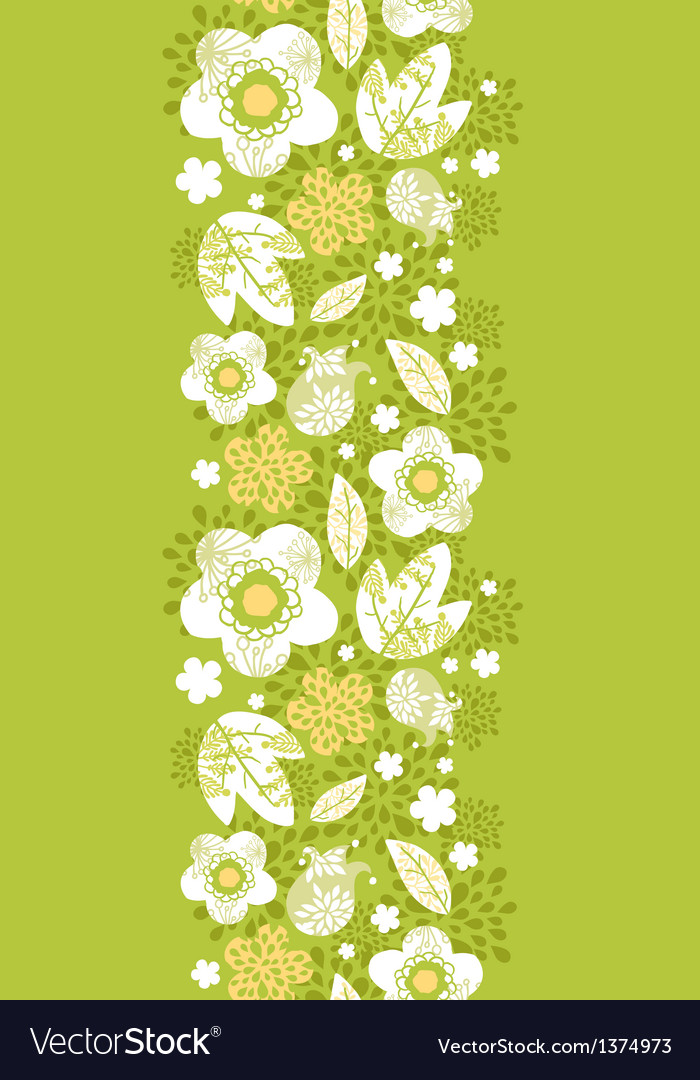 Green kimono florals vertical seamless pattern vector | Price: 1 Credit (USD $1)