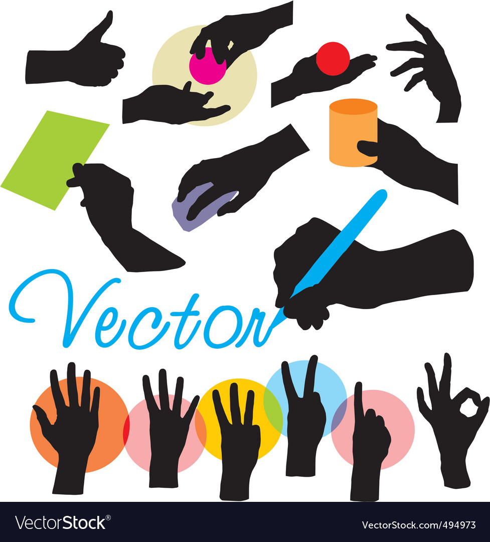 Set hands silhouettes vector | Price: 1 Credit (USD $1)