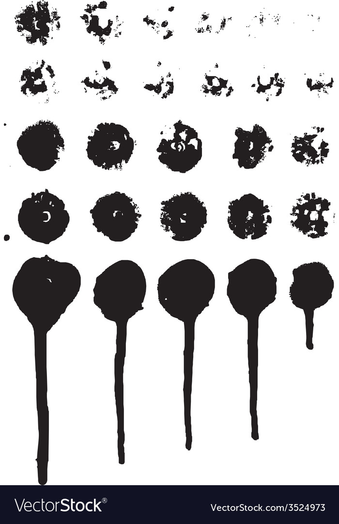 Set of grungy paint drips vector